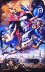 66 - Lecce. Il Duomo, interno, particolari del soffitto. L'episcopato con la Protezione dalla Peste, tela di Giuseppe da Brindisi