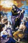67 -Lecce. Il Duomo, interno, particolari del soffitto. L'apostolato con la Predicazione, tela di Giuseppe da Brindisi