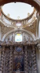 """91 -Lecce. Il Duomo. Altare di San Filippo Neri"""", pietra di Lecce scolpita, dipinta. Datazione: fine XVII secolo.Autore: maestranze salentine"""