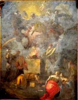 """95 - Lecce. Il Duomo. Dipinto, """"Il sacrificio di Noè dopo il diluvio"""", olio su tela.Datazione: metà XVIII secolo.Autore: Tiso Oronzo, ambito salentino"""