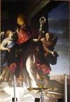 101 - Lecce. Il Duomo. Dettaglio del dipinto, pala d'altare, Sant'Oronzo vescovo , olio su tela. Datazione metà XVII secolo. Autore Coppola Giovanni Andrea, ambito salentino