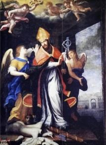 60 - Ostuni, interno del Santuario diSant'Oronzo, Dettaglio sul muro è dipinta la figura del Santo che benedice la città di Ostuni.