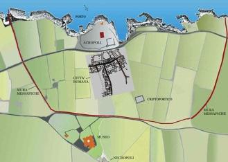 70 -Fasano. Mappa della zona archeologica.