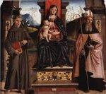 40 -Castrocaro Terme. Interno della chiesa dei Santi Nicolò e Francesco, dettaglio sul dipinto della Madonna col Bambino.