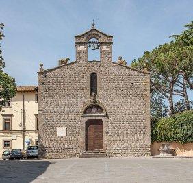99 -Viterbo. Piazza del Gesù particolare della chiesa di San Slvestro.
