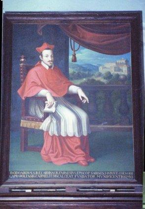 12 Caprarola, dettaglio dell'interno della chiesa di Santa Teresa. Dipinto raffigurante il Card. Odoardo Farnese (XVII secolo)