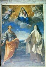 13 -Dipinto dell'altare Maggiore pala dell'altare maggiore raffigurante la Madonna con il Bambino, Santa Teresa d'Avila e San Giuseppe,realizzato da Guido Reni (XVII secolo)