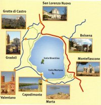 7 -Mappa del lago-di-Bolsena con le due isole e i suoi comuni a cui una visita diventa obbligatoria fare.