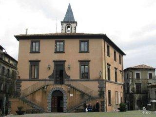 10 -Grotte di Castro. Palazzo Comunale, edificio eretto su progetto del Vignola nel XVI secolo dotato in facciata di una bella scala doppia, a due rampe.