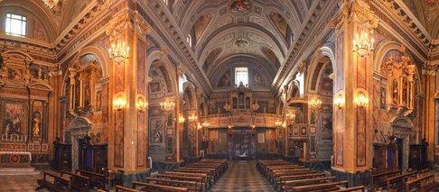 9 -Grotte di Castro. Interno della Basilica di San Giovanni, panoramica della Navata Centrale - Santuario Madonna del Suffragio.