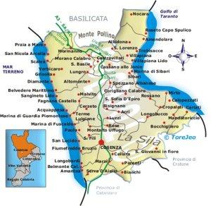 Mappa della provincia di Cosenza