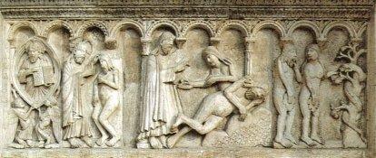 13 -Modena. La cattedrale Bassorilievo di Wiligelmo, la Creazione dell'uomo, della donna e peccato originale