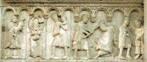 14 -Modena. La cattedrale .Wiligelmo, Caino e Abele