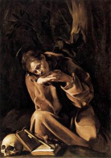24 -Caravaggio (San Francesco in meditazione)