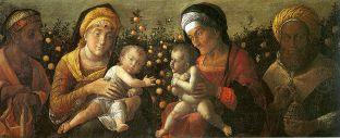 12 -Mantova. Basilica di Sant'Andrea, interno sacra-famiglia-e-famiglia-del-battista-di-andrea-mantegna