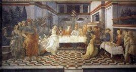 10-Prato, interno Duomo, Filippo Lippi, Convito di Erode (1452-1462) nella cappella maggiore