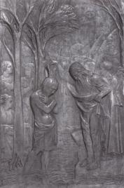"""9 -Arezzo. Duomo. Il pannello in marmo con il """"Battesimo di Cristo"""" che decora il Fonte Battesimale è attribuito a Donatello"""