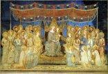 13 -Siena. La Maestà di Simone Martini nel Museo Civico è un' opera che nasce insieme a quella analoga che Duccio di Buoninsegna stava dipingendo negli stessi anni (1312) per per l'altare maggiore del Duomo. Si scelse la Vergine per testimoniare la speciale devozione che i senesi hanno avuto, in ogni tempo, verso la Madonna, come dimostra il Palio del 15 agosto a lei dedicato. La Madonna è al centro del dipinto, seduta su un trono regale e circondata dai Santi.