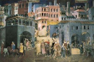 15 -Siena. La Sala dei Nove e l'Allegoria del Buono e Cattivo Governo. Questa è la sala più famosa e visitata del Palazzo Pubblico di Siena. Viene comunemente chiamata Sala dei Nove a ricordare la forma di governo che regnò su Siena dal 1287 al 1355 e che la trasformò in una città splendida e potente.