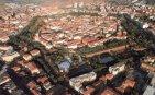 2 -Grosseto. Panorama, sul centro storico dove è ben visibile le mura che abbracciano la città.