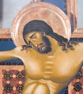 24 -Arezzo. Interno della chiesa di San Domenico, particolare del grande Crocifisso di Cimabue,