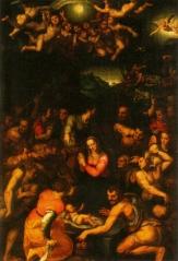 36 -Pisa. La Chiesa di Santo Stefano, interno, dipinto Natività di Cristo del Bronzino.