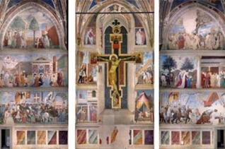 13 -Arezzo. La Basilica di San Francesco interno. Il ciclo di affreschi è ispirato alla Legenda Aurea scritta dal vescovo ligure Jacopone Da Varagine