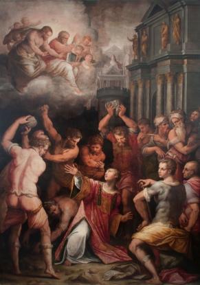 37 -Pisa. La Chiesa di Santo Stefano, interno, il dipinto Lapidazione di santo Stefano di Giorgio Vasari.